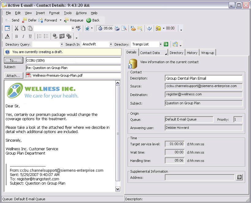 Agile CC - Agent Desktop - Incoming Email Contact