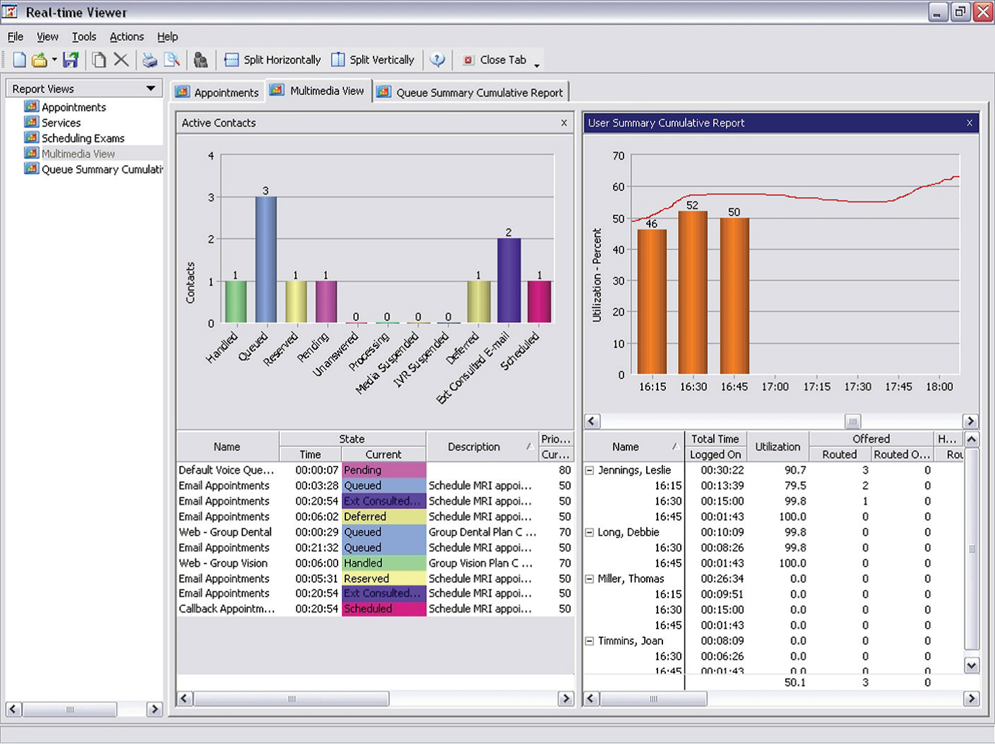 Enterprise CC - Report Center  Real-Time Viewer