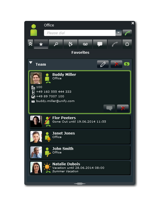 myPortal Smart Favorites with Call Status